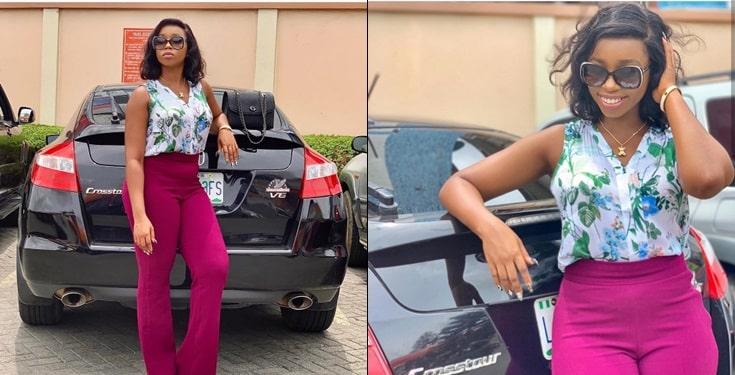 BBNaija's Bambam flaunts new car