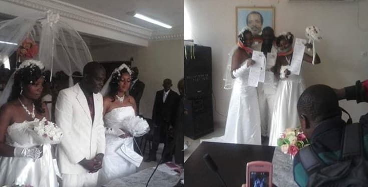 Man weds two wives in one White wedding ceremony