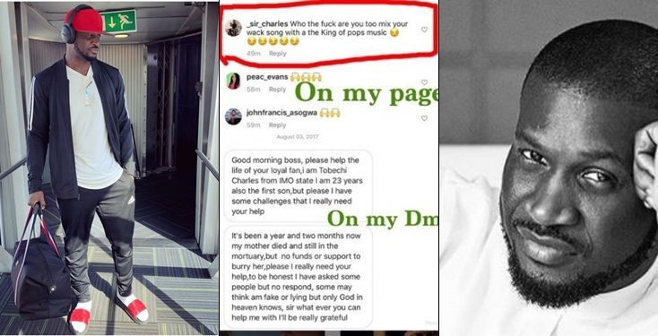 Peter Okoye Exposes Fan Who blasted His Music After Begging For Money