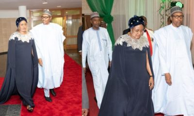 Aisha Buhari rocks a $2,145 Oscar De LaRenta cape dress to Democracy Day gala night