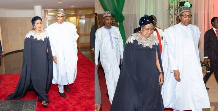 Aisha Buhari rocks a $2,145 Oscar De LaRenta cape dress to Democracy Day gala night