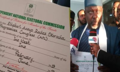 Breaking: Okorocha receives his Certificate of Return from INEC