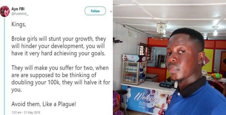 'Broke girls will stunt your growth' – Nigerian man advises fellow men