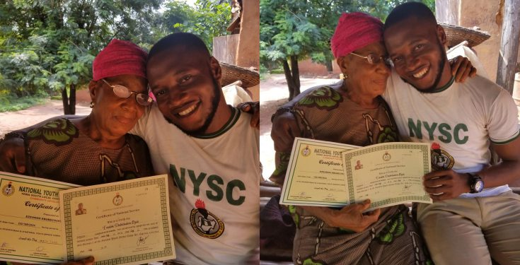 Corps member thanks his mum after receiving his NYSC discharge certificate (photos)