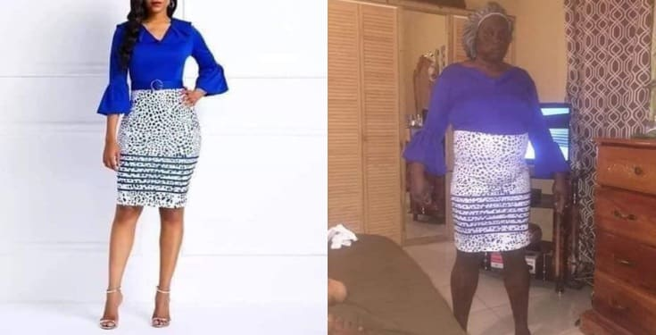 Lady shows off what she got after placing an order online