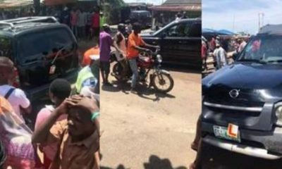 Learner abandons car, flees after killing someone in Satellite, Lagos (Photos)