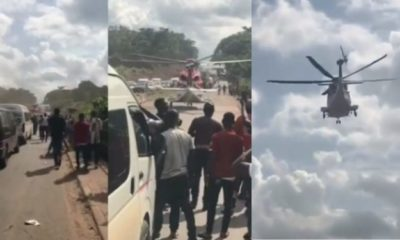 Moment a helicopter flew in to pick up a Nigerian Billionaire stuck in traffic (Video)