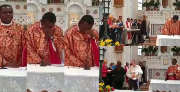 Nigerian priest in Switzerland breaks down in tears after his parishioners sang him an Igbo song (video)