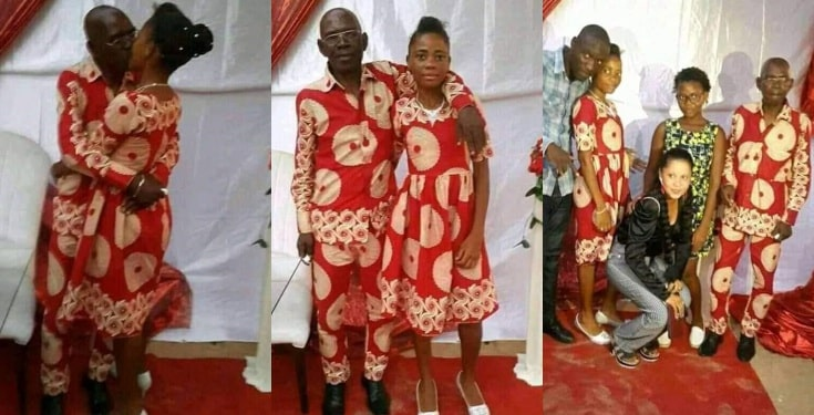 Photos of an elderly man and his young bride