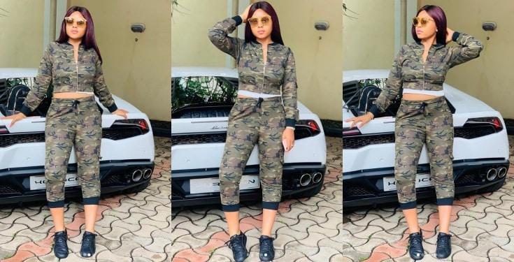 Regina Daniels Poses With Her Husband's Lamborghini (photos)