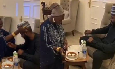 Relationship therapist, Jaruma kneels to serve her husband food (Video)