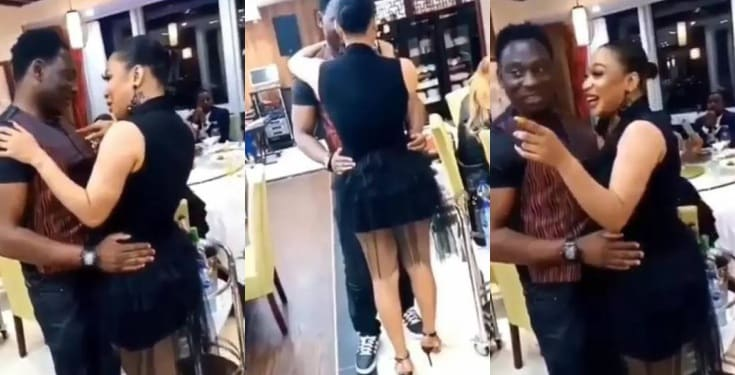 Tonto Dikeh and Daniel Amokachi cling to each other at birthday party (Video)