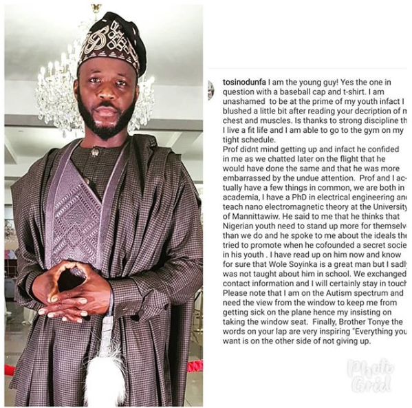 Media personality, Tosin Odunfa, reacts to backlash he has received after claiming to be the young man who ordered Soyinka out of his seat