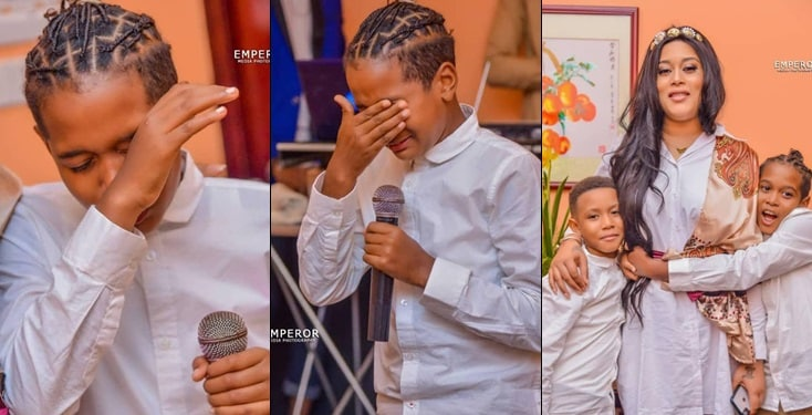 Moments actor Adunni Ade's son broke down in tears while praying for her at birthday dinner