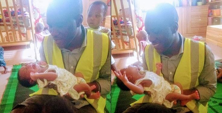 Newborn baby left outside orphanage