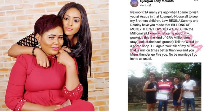 Regina Daniels' father, uncle and mother clash on social media