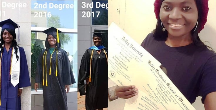 Nigerian lady bagged 3 degrees in the US