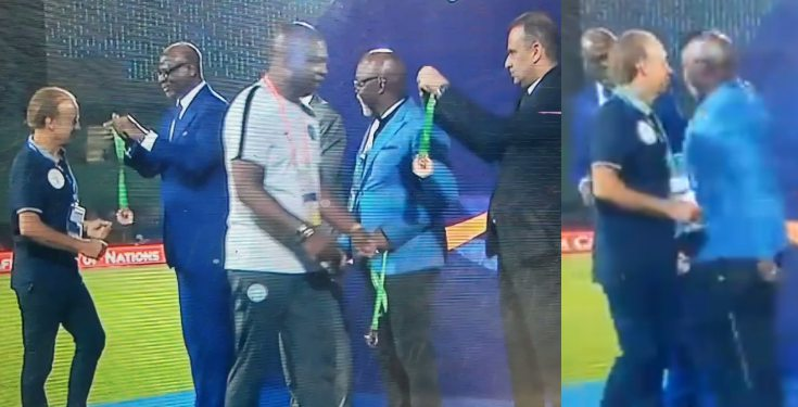 AFCON 2019: NFF boss, Pinnick, 'snubs' Rohr during bronze medal presentation (video)