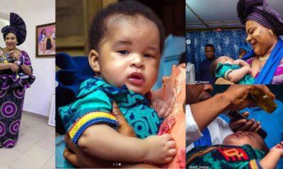Actress Nkechi Blessing dedicates son as he clocks 3 months (photos)
