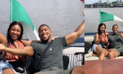 Anthony Joshua and his sister hosted by Dangote in his luxury yacht (Photos)
