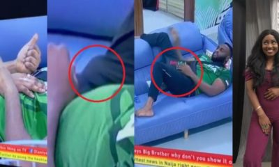 BBNaija 2019: Nelson covers his erection after Esther places her hand on him (Video)