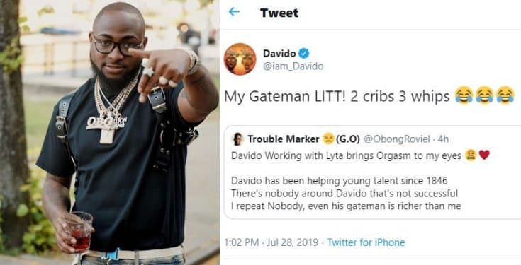 Davido claims his gate-man has 'two houses and three cars'