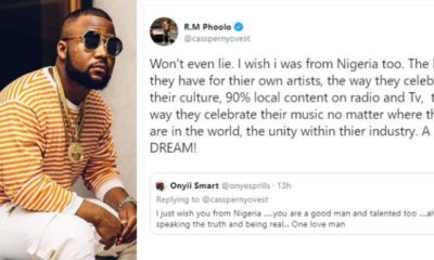'I wish I was from Nigeria' - South African rapper, Cassper Nyovest says