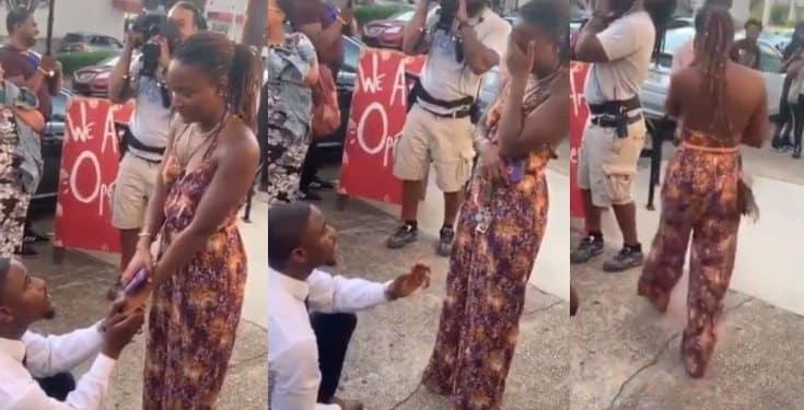 Lady burst into tears as she rejects her boyfriend's proposal (video)