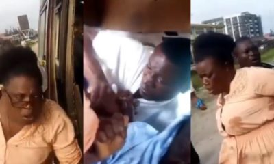 Lady fights man who allegedly sexually harassed her in public bus (video)