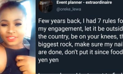 Lady says all she wants now is a man after listing rules her fiancee most abide