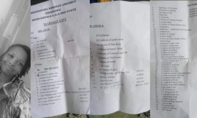 Lady shares marriage list from her village in Imo State (Photos)