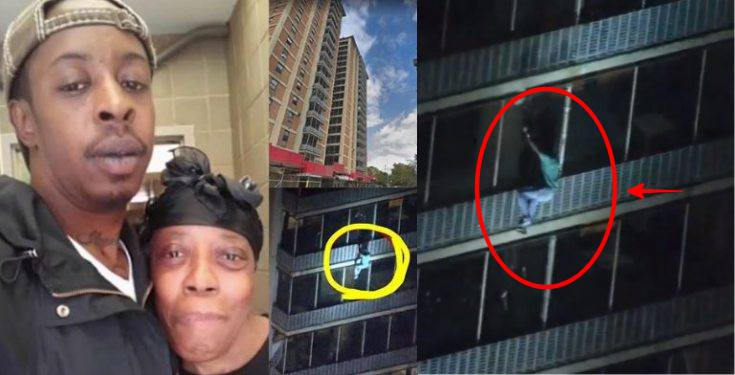 Man climbs 19-story building to rescue his mother from fire (video)