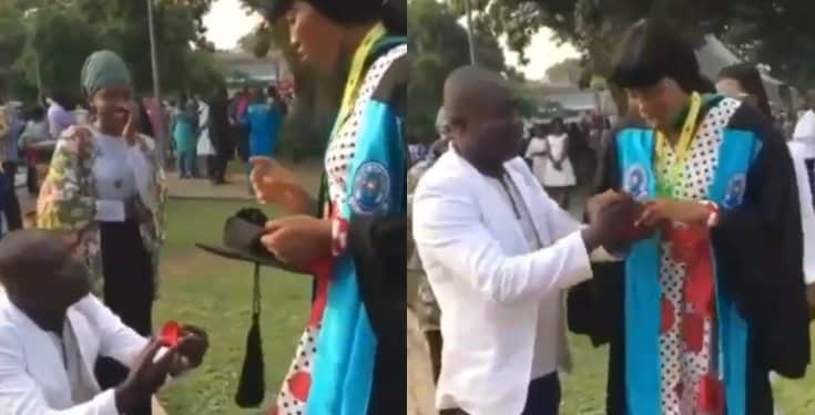 Man proposes to his KNUST girlfriend on graduation day (video)