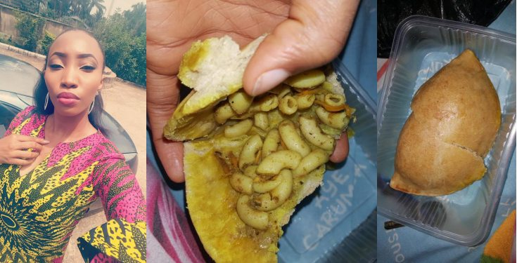 Nigerian lady finds macaroni inside meat pie she bought (photos)