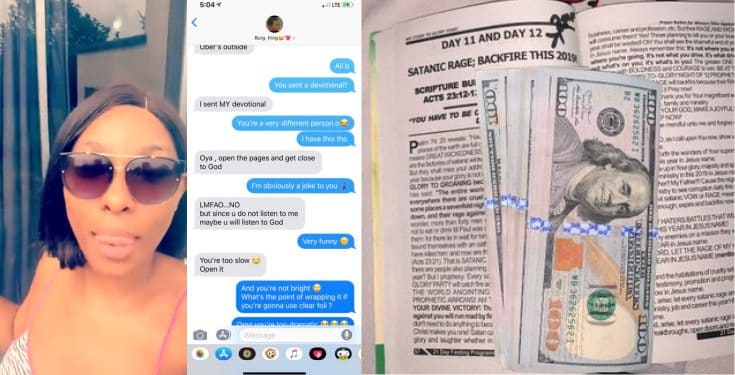 Nigerian lady gets $100 bills from her boyfriend for being angry