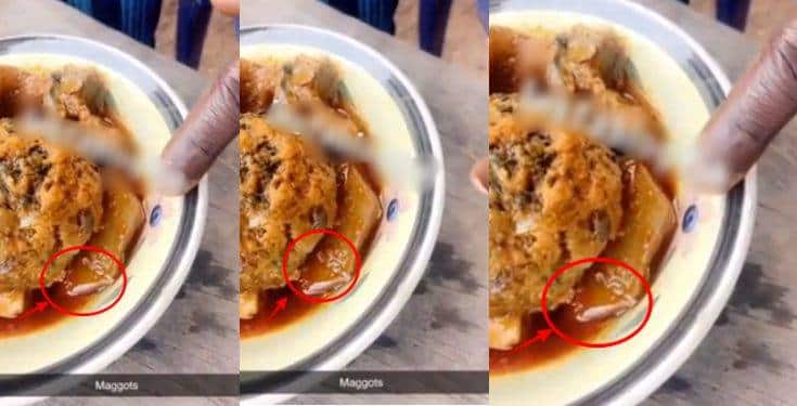 Nigerian man discovers maggots inside the soup he was served at a restaurant (Video)