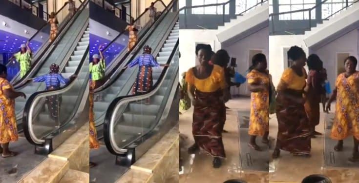 Nigerian women sing and dance after seeing an escalator for the first time (video)