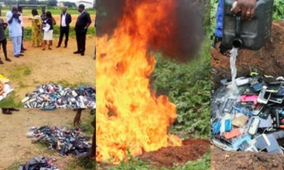 Poly Ibadan management burns all the phones seized from students during examination