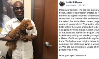 Writer, Pa Ikhide, criticizes Africans who still believe in the Bible