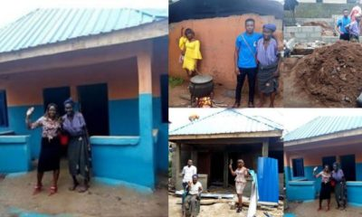 Young lady builds house for old woman living in mud house