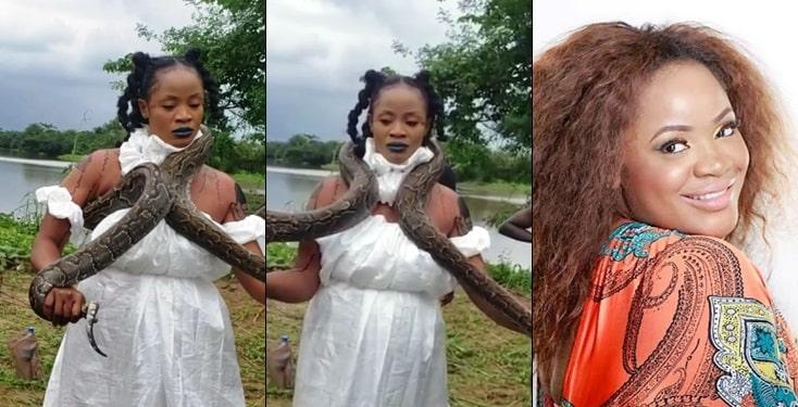 Fans React As Uche Ogbodo Wraps Python Round Her Neck