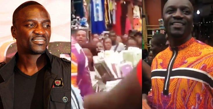 Akon Mobbed At Idumota Market In Lagos