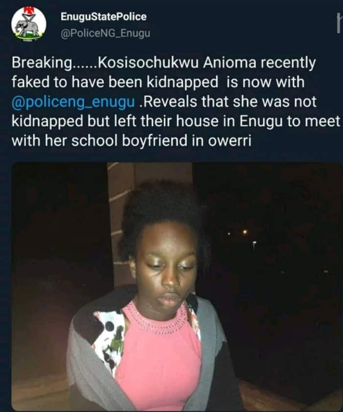 13-yr-old girl fakes her kidnap in Enugu to be with her boyfriend in Owerri