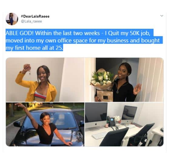 25-year-old Nigerian lady quits her £50,000 job to fully face her side hustle
