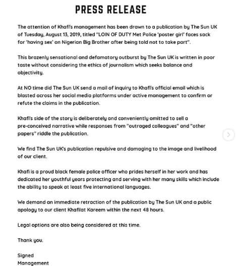 BBNaija: Khafi's management speaks on her alleged sack by UK Police