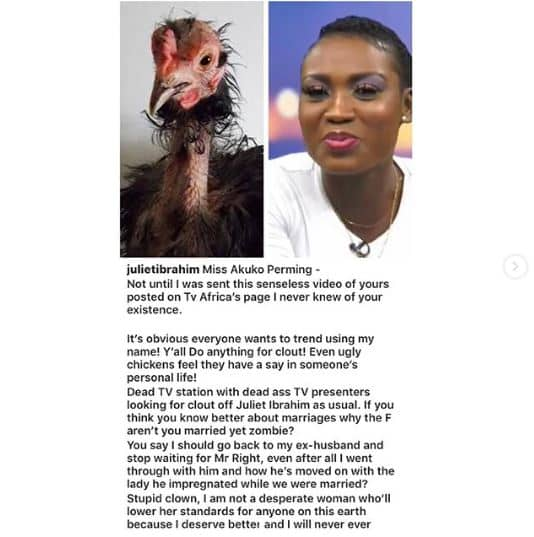 Actress Juliet Ibrahim blasts an OAP who advised her to return to her ex-husband