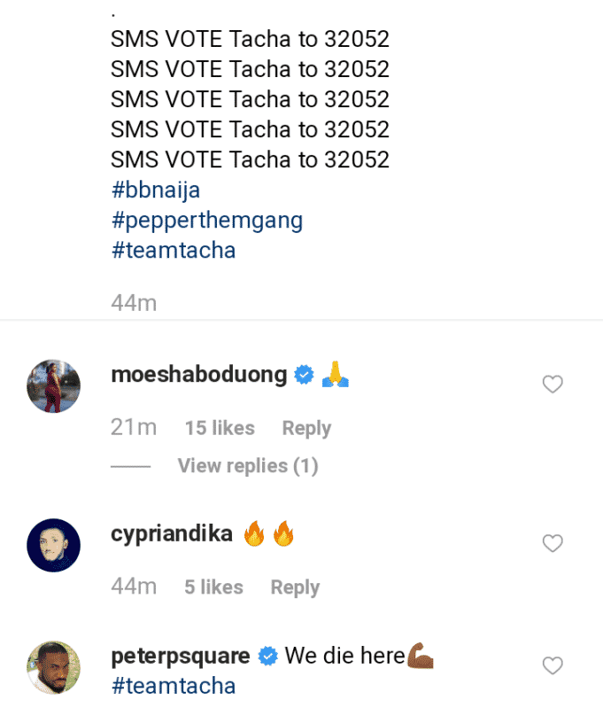BBNaija 2019: 'If Tacha no win, I will give her the money' – Peter Okoye