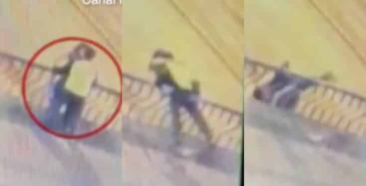 Couple plunge 50ft to their deaths while hugging and kissing from a bridge (video)