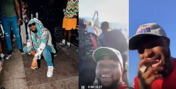 Davido screams as he flies economy class for the 1st time (video)