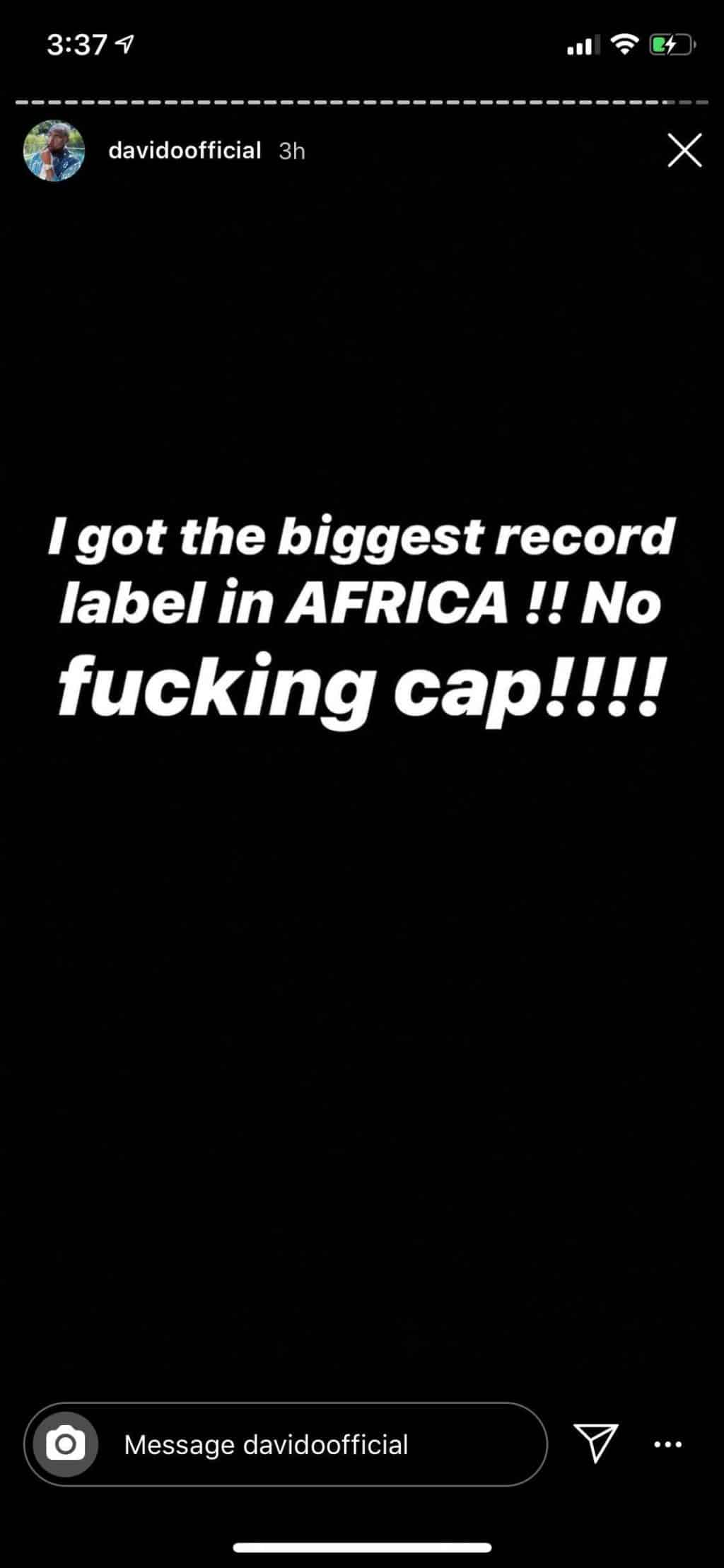 'I have the biggest record label in Africa' – Davido